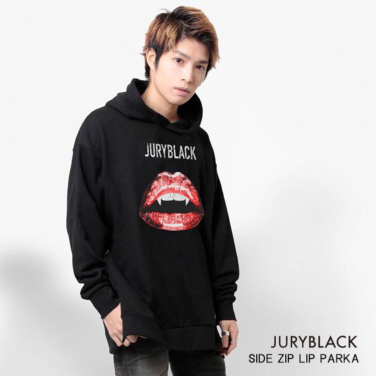 サイド ZIPリップパーカー JURY BLACK ジュリーブラック【 SIDE ZIP バンド 長袖 ストリート レイヤード フード 唇 リップ 】