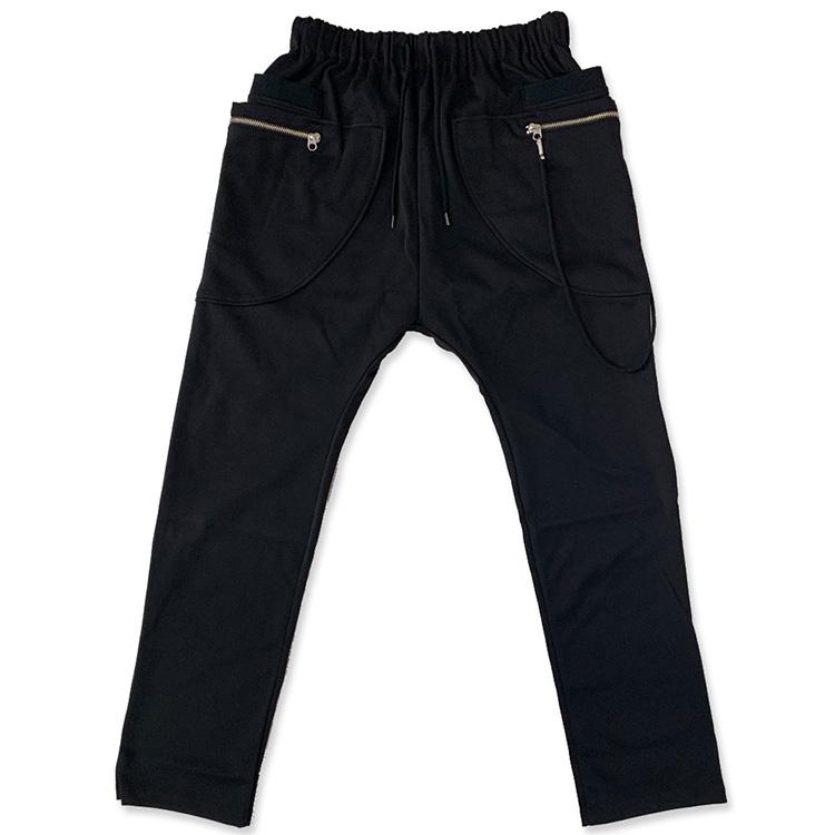 ポンチジョガーパンツ JURY BLACK 【 サルエル パンツ メンズ 伸縮性 カジュアル ストレッチ スリム メンズファッション おしゃれ ゆったり ウエストゴム 】