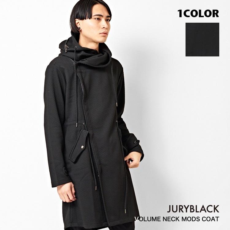 【30%OFF】JURY BLACK ジュリーブラックボリュームネック モッズコート 【 アウター メンズ フード ZIP ロック 保温性 黒 シンプル 上着 フラップ付 変形 ポリエステル 】