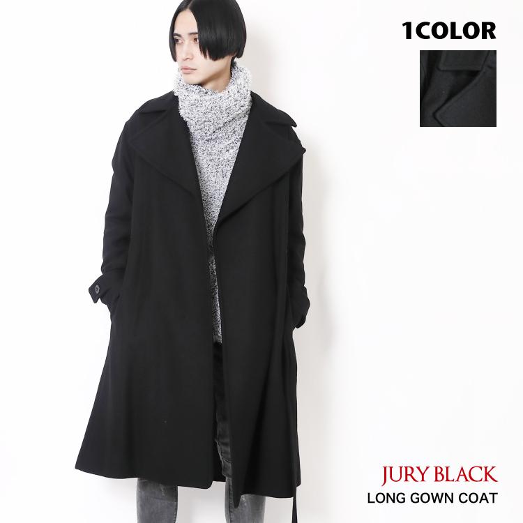【30%OFF】ロング ガウンコート JURY BLACK ジュリーブラック 【 アウター ウエストベルト メルトン メンズ 日本製 ビジネス ロック 黒 白 羽織 ファッション 上着 プレミアムウール 羊毛 メルトン 】