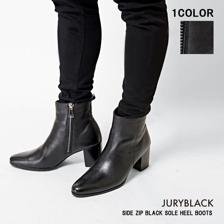 JURY BLACK ジュリーブラック サイド ZIP ヒールブーツ 【 靴 シューズ ブーツ くつ ブラックソール ショーツブーツ メンズ 高級 革 牛革 太ヒール サイドジップ 】