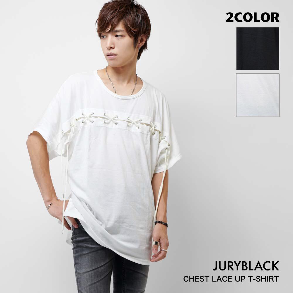 チェストレースアップ tシャツ メンズ JURY BLACK【送料無料 ジュリーブラック メンズファッション 夏服 夏 トップス おしゃれ レース メンズナックル】