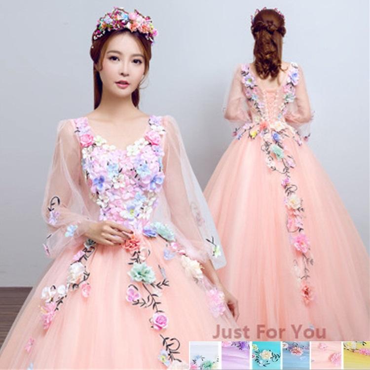 レディース ドレス フォーマル ワンピース 格安 ウエディングドレス カラードレス マキシ丈 ピンクドレス Vネック ブライダルドレス 大きいサイズ 花びらがポイント オシャレ