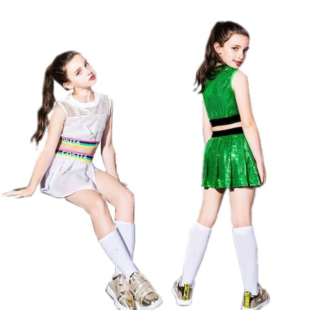 高品質 ダンス衣装 キッズ ヒップホップ 女の子 上下セット ダンス スパンコール衣装 チア チアガール ストリート ベスト ジャズセットアップ JAZZ 正規認証品!新規格 超歓迎された スカート 3点セット 衣装 HIPHOP 原宿系 へそ出し