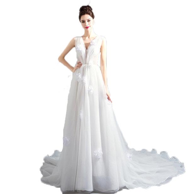 ウェディングドレス ロング 二次会 2次会 ドレス 花嫁 人気 ウエディングドレス 安い ホワイト 結婚式 海外挙げ ウエディング パーティ トレーンタイプ ロングドレス