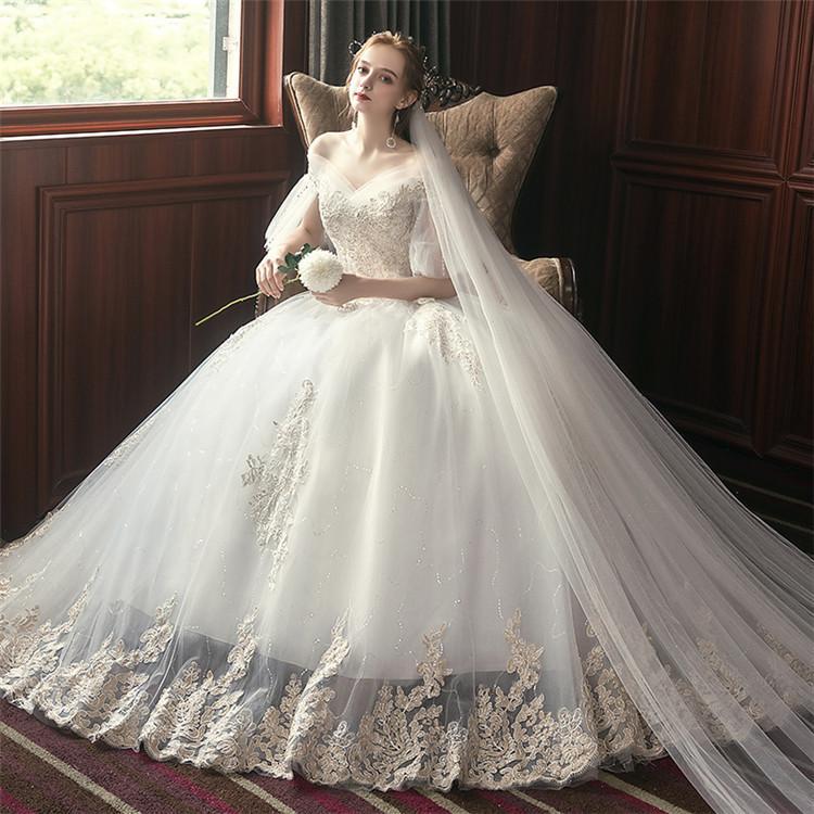 ウェディングドレス ロングドレス 花嫁ドレス 編み上げタイプ プリンセスドレス フォーマルドレス 二次会 披露宴 結婚式 ウエディングドレス ふんわり