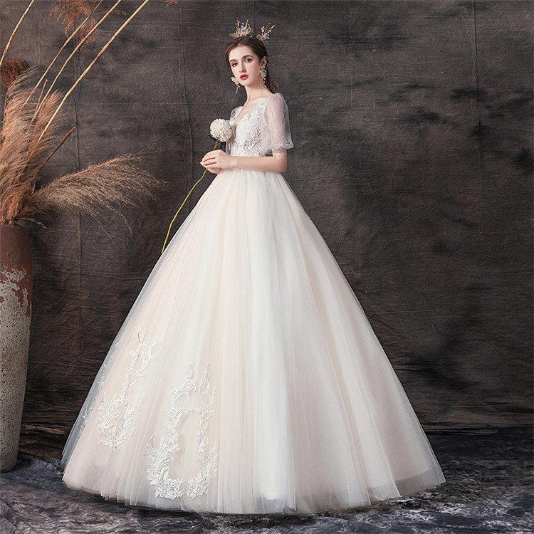豪華 ウェディングドレス ロングドレス 花嫁ドレス 編み上げタイプ プリンセスドレス Vネック フォーマルドレス 二次会 披露宴 結婚式 ウエディングドレス ふんわり