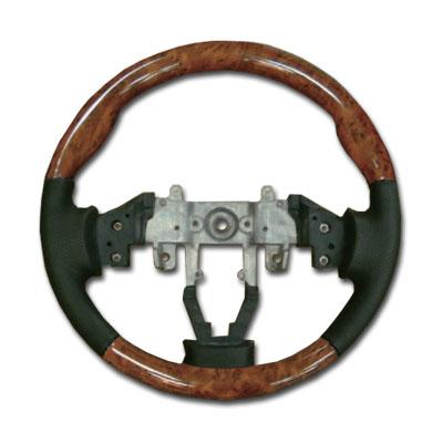 送料無料 ウッドコンビステアリング(MH23SワゴンR) レザーカラー:ブラック ウッドカラー :ミディアムブラウン グリップ形状:スタンダード