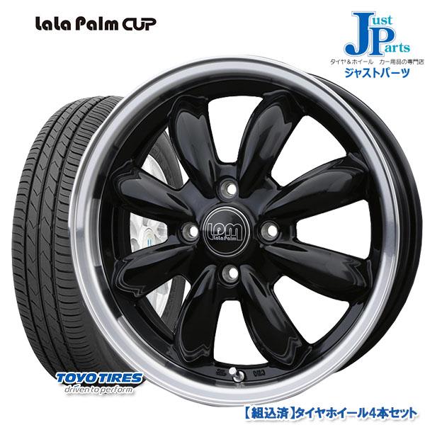 送料無料 165/50R15トーヨー TOYO SD-k7新品 サマータイヤ ホイール4本セットララパーム カップ LaLa Palm Cupブラックリムポリッシュ15インチ 4.5J 4H100