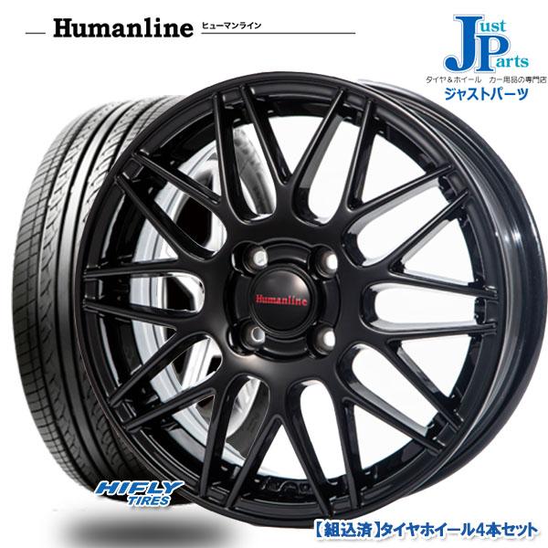 送料無料 F:145/65R15・R:175/55R15ハイフライ HIFLY HF201新品 サマータイヤ ホイール4本セットヒューマンラインHM02 ブラック15インチ F:4.5J・R:5.5J 4H100
