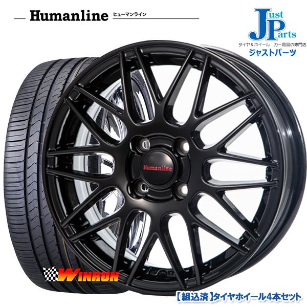 送料無料 165/50R15ウィンラン WINRUN R330新品 サマータイヤ ホイール4本セットヒューマンラインHM02 ブラック15インチ 4.5J 4H100