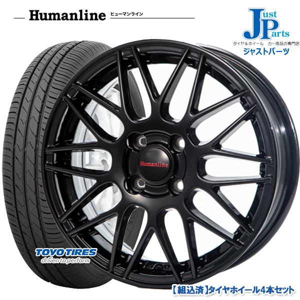 送料無料 165/65R13トーヨー TOYO SD-k7新品 サマータイヤ ホイール4本セットヒューマンライン HM02ブラック13インチ4.0J 4H100バモスホビオ/エブリーワゴン等