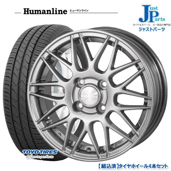 送料無料185/70R14トーヨー TOYO SD-7新品 サマータイヤ ホイール4本セットヒューマンライン HM02ダークグレー14インチ 5.5J 4H100