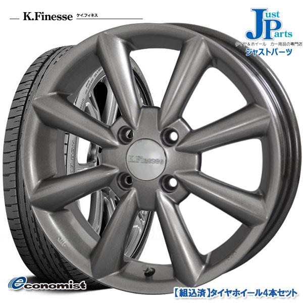 送料無料 165/45R15ATR-K Economist新品 サマータイヤ ホイール4本セットケイフィネス KF08グレー15インチ 4.5J 4H100