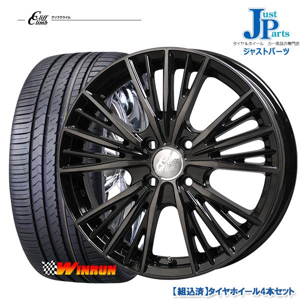 送料無料205 40R17ウィンラン WINRUN R330新品 サマータイヤ ホイール4本セットクリフクライム TC04ブラックポリッシュブラッククリア17インチ 6.5J 4H100