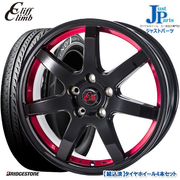 夏用タイヤホイールセット 日本全国 送料無料 215 60R16BRIDGESTONE REGNO GR-V2ブリヂストン ホイール4本セットクリフクライム 5H114.3ブラックレッドアンダーカット レグノ新品 サマータイヤ 希少 TC0716インチ 6.5J