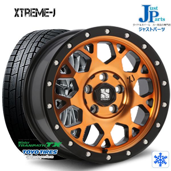 送料無料 215/70R16 100Q【2018~2019年製】トーヨー(TOYO) WinterTRANPATH TX新品 スタッドレスタイヤ ホイール4本セットXTREME-J XJ0416インチ 7.0J +35 5H114.3アクティブオレンジ