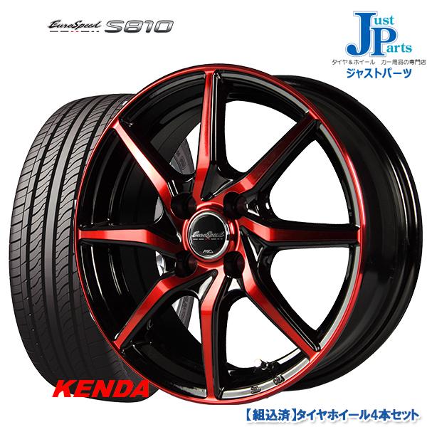 送料無料 165/55R15KENDA ケンダ KOMETPLUS KR23A新品 サマータイヤ ホイール4本セットマルカ ユーロスピード S810ブラックポリッシュ/レッドクリア15インチ 4.5J 4H100
