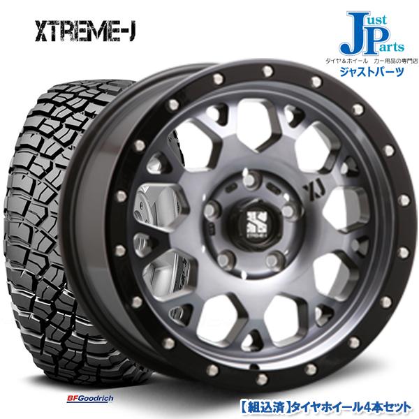 送料無料LT235/70R16 110/107Q LRD RBLBF Goodrich Mud-Terrain T/A KM3ブラックレター新品 サマータイヤ ホイール4本セットXTREME-J XJ04グロスブラックマシーン/スモーククリア16インチ 7.0J 5H114.3