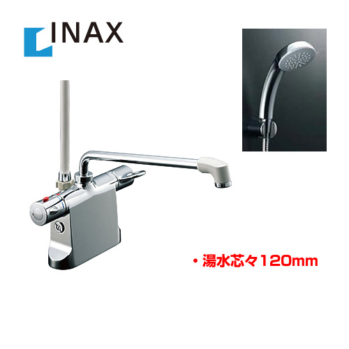 【後継品での出荷になる場合がございます】[BF-B646TSC--300-A120] INAX 浴室水栓 シャワー水栓 サーモスタットシャワー金具 浴槽・洗い場兼用 エコフルスプレーシャワーメッキ仕様付 【パッキン無料プレゼント!(希望者のみ)※同送の為開梱します】 デッキタイプ 台付