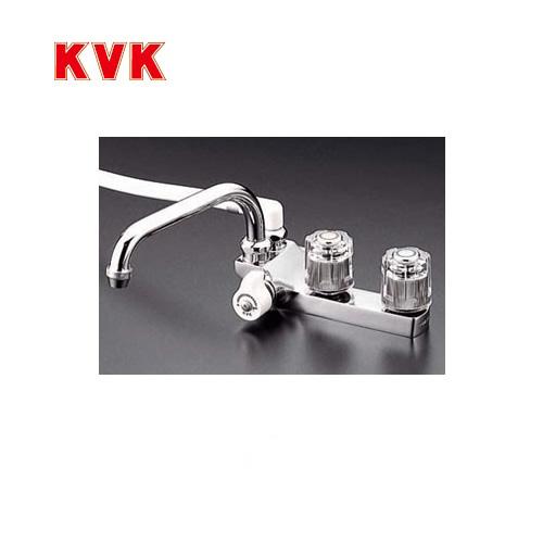 [KF13GEC]KVK 浴室水栓 シャワー水栓 2ハンドルシャワー デッキ形(台付き) 取付ピッチ85mm 左側シャワー エコこま(快適節水) 蛇口 デッキタイプ おしゃれ