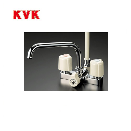 [KF14ER2]KVK 浴室水栓 シャワー水栓 2ハンドルシャワー デッキ形(台付き) 240mmパイプ付 取付ピッチ120mm エコこま(快適節水) 蛇口 デッキタイプ おしゃれ