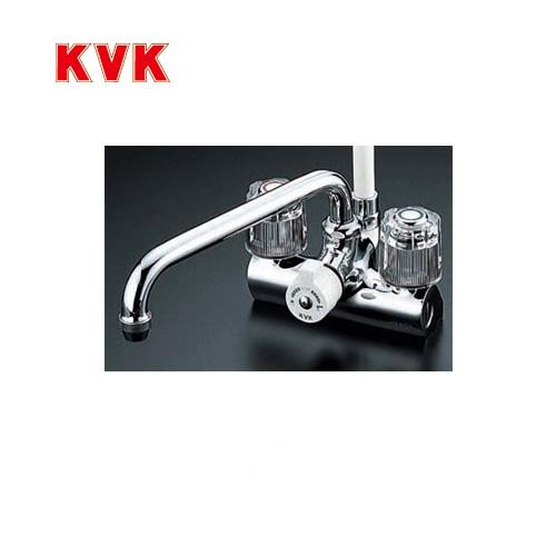 [KF206]KVK 浴室水栓 シャワー水栓 2ハンドルシャワー デッキ形(台付き) 取付ピッチ120mm 一時止水 逆止弁 エコこま(快適節水) 蛇口 デッキタイプ おしゃれ