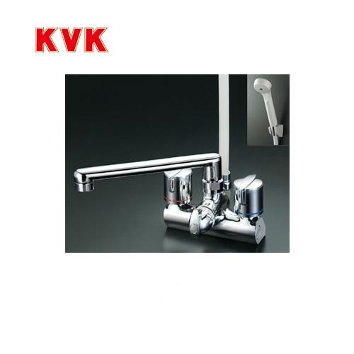 [KF206G]KVK 浴室水栓 シャワー水栓 2ハンドルシャワー デッキ形(台付き) 取付ピッチ120mm 一時止水 逆止弁 エコこま(快適節水) 蛇口 デッキタイプ おしゃれ