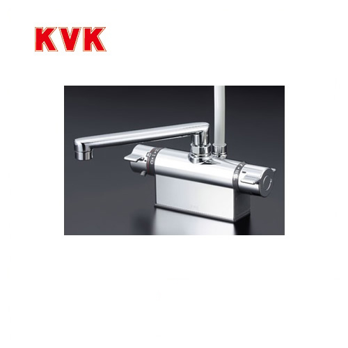 [KF801T]KVK 浴室水栓 シャワー水栓 サーモスタットシャワー金具 デッキ形(台付き) 取付ピッチ100mm 逆止弁 快適節水シャワー 取付穴径(mm):φ22~φ24 蛇口 【送料無料】 デッキタイプ おしゃれ