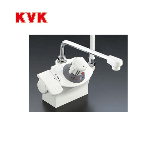 [KF821]KVK 浴室水栓 シャワー水栓 サーモスタットシャワー金具 デッキ形(台付き) シャワー右側 取付ピッチ100mm 逆止弁 快適節水シャワー 取付穴径(mm):φ22~φ24 蛇口 【送料無料】 デッキタイプ おしゃれ
