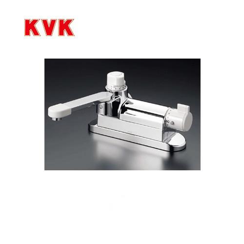 [KM297G]KVK 浴室水栓 バス水栓 サーモスタット式混合栓 デッキ形(台付き) 定量止水付 可変ピッチ式 逆止弁 取付穴径(mm):φ31~φ33 蛇口 デッキタイプ おしゃれ