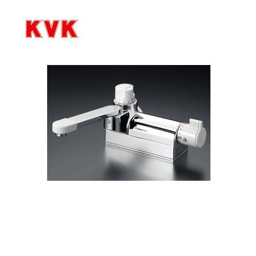 [KM298G]KVK 浴室水栓 バス水栓 サーモスタット式混合栓 デッキ形(台付き) 定量止水付 取付ピッチ100mm 逆止弁 取付穴径(mm):φ22~φ24 蛇口 デッキタイプ おしゃれ
