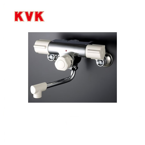 [KM59]KVK 浴室水栓 バス水栓 サーモスタット 2ハンドル混合栓(壁付きタイプ) 定量止水付 逆止弁 蛇口 壁付タイプ