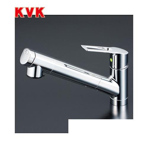 [KM6001EC]KVK キッチン水栓 浄水器内蔵シングルレバー式シャワー付混合栓 セラミックシングル ワンホールタイプ 逆止弁付 eレバー おしゃれ