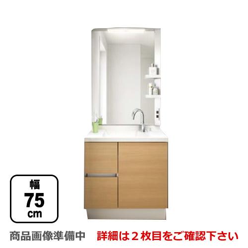 [NSVH-75G5Y-MNS-751XJU]INAX 洗面化粧台 エスタシリーズ 間口:750mm/75cm ミラーキャビネット1面鏡(大型鏡・LED照明) くもり止めコート有 洗面台 扉カラー:クリエラスク(側板白色) 洗面台