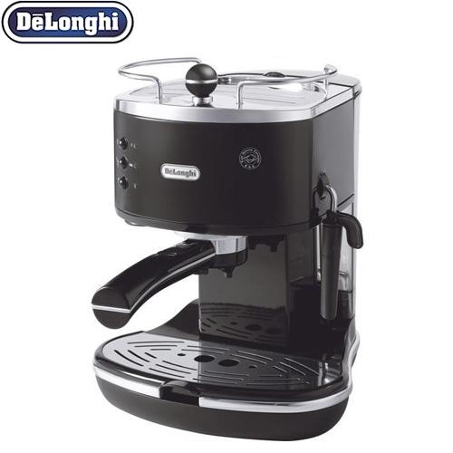 [ECO310BK] デロンギ コーヒーメーカー アイコナ・コレクション エスプレッソ・カプチーノメーカー 二重構造のスチームノズル カップウォーマー ブラック