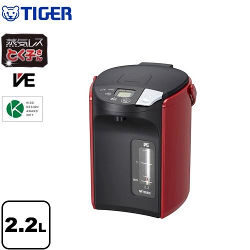 [PIP-A220-R] タイガー 電気ケトル・ポット とく子さん 蒸気レスVE電気まほうびん 容量:2.2L 高真空2重瓶(VEまほうびん構造) 蒸気キャッチャー構造 らくらくレバー式電動給湯 レッド