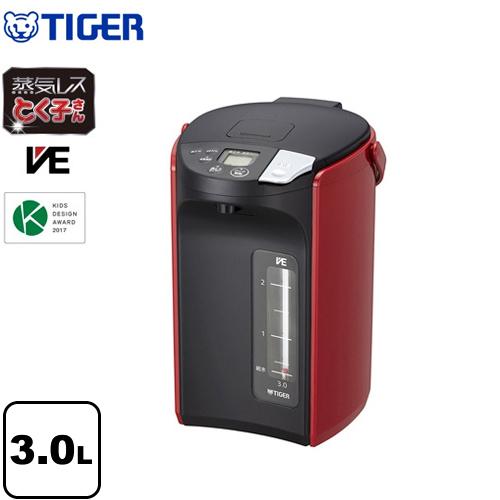 [PIP-A300-R] タイガー 電気ケトル・ポット とく子さん 蒸気レスVE電気まほうびん 容量:3.0L 高真空2重瓶(VEまほうびん構造) 蒸気キャッチャー構造 らくらくレバー式電動給湯 レッド