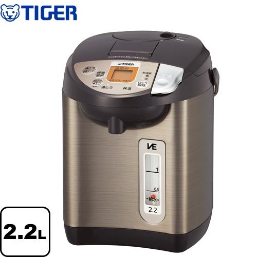 [PIW-A220-T] タイガー 電気ケトル・ポット 蒸気レスVE電気まほうびん 容量:2.2L とく子さん 魔法瓶 操作しやすい普及モデル ブラウン 【送料無料】