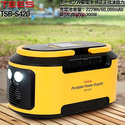 [TSB-S420] TEES ポータブル電源 ポータブル電源 蓄電池 60000mAh / 222Wh TEES 軽量・コンパクト 【送料無料】
