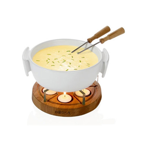 [2261] BOSKA ワイン チーズグッズ キャンドルチーズフォンデュセット ホワイト 1セット 陶器、(台)オーク、ガラス、(フォーク)ステンレス、オーク 【送料無料】【メーカー直送のため代引不可】
