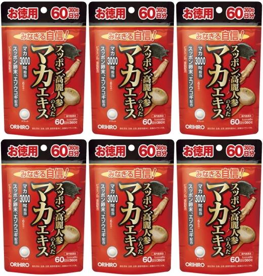 【送料無料】 徳用 スッポン高麗人参の入ったマカエキス|徳用360粒入×6個セット|オリヒロ|すっぽん|代引不可