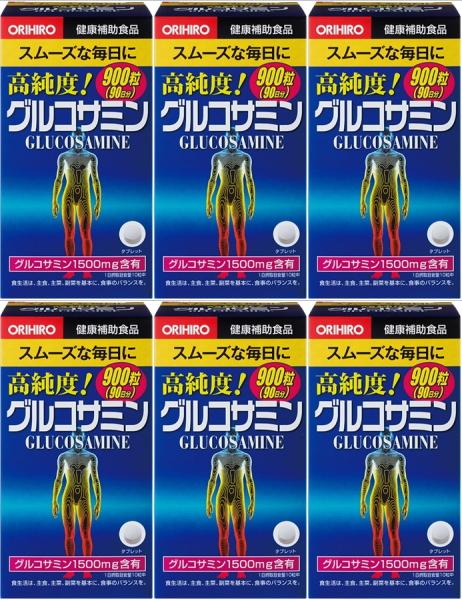 【送料無料】 オリヒロ 高純度グルコサミン粒徳用900粒入×6個セット|コラーゲン・鮫軟骨配合