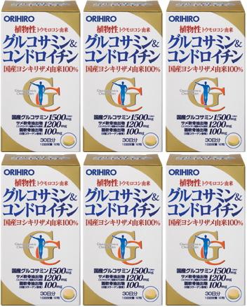【送料無料】 グルコサミン&コンドロイチン|360粒入(30日分)×6個セット|オリヒロ|国産ヨシキリザメ由来100%のコンドロイチン配合