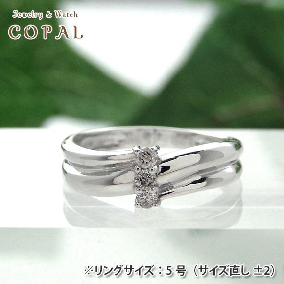 K18WGダイヤピンキーリング<K18ホワイトゴールド・ダイヤモンド0.07ct>【小指】 【指輪】【送料無料】※北海道・沖縄・離島を除く
