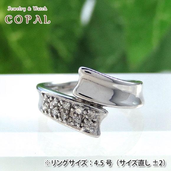 K18WGダイヤピンキーリング<K18ホワイトゴールド・ダイヤモンド0.16ct>【小指】【指輪】【送料無料】※北海道・沖縄・離島を除く
