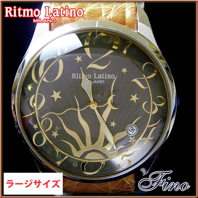 【Ritmo Latino腕時計フィーノ(ブラック/バンド:ブラウンゴールド)ラージサイズ】圧倒的な「存在感」・「楽しさ」「遊び心」・「情熱」を感じさせてくれます。【リトモラティーノ】