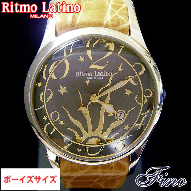 【Ritmo Latino腕時計フィーノ(ブラック/バンド:ブラウンゴールド)レギュラーサイズ】圧倒的な「存在感」・「楽しさ」「遊び心」・「情熱」を感じさせてくれます。【リトモラティーノ】