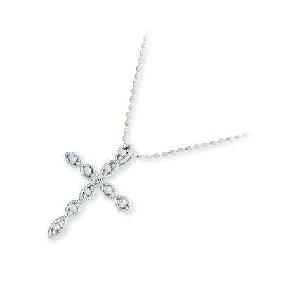 ダイヤモンド ネックレス シンプル isu イス ホワイトゴールド  ホワイト 彼女 レディース クロス 母の日 2020