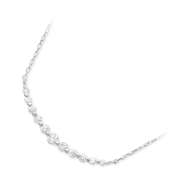 Jセレクション ホワイトゴールド ネックレス シンプル ホワイト 20代 30代 彼女 レディース